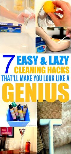 These 7 cleaning hacks with household items are THE BEST! I'm so happy I found these GREAT tips! Now I can save money and make my home look so clean and fresh! I'm DEFINITELY pinning for later!