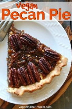 Healthy Vegan Pecan Pie also happens to be the Best Maple Pecan Pie as it is made with no refined sugars, no dairy, no eggs and last but not least no corn syrup. Easy to make one pan filling for a great holiday dessert. Homemade pie crust included too. Dairy Free Pecan Pie, Vegan Pecan Pie, Pecan Pie Filling, Vegan Pie, Vegan Food, Vegan Snacks, Vegan Dinners, Raw Vegan, Vegan Dessert Recipes