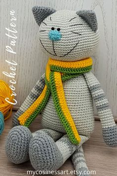 English pattern. The finished product is 10.6 inches / 27 cm tall. This cat will become a favorite toy for you and your children. #mycosinessart #crochetamigurumi #crochetamigurumipattern #CrochetCatpattern #amigurumipdf Crochet Deer, Crochet Cat Pattern, Diy Crochet And Knitting, Crochet Patterns Amigurumi, Handmade Ideas, Handmade Toys, Crochet Baby Booties, Amigurumi Toys, Stuffed Toys Patterns