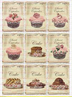 9 Nostalgische Cupcake French Bügelbilder  No.1434