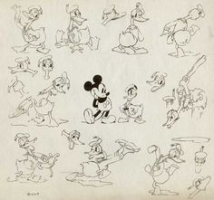 Donald Duck model sheets from the 1930s.