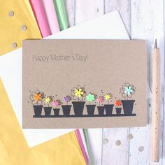 Mothers Day Cards Handmade Discover Personalised Happy Mothers Day Card With Flower Pots Mothers Day Cards Homemade, Diy Mothers Day Gifts, Happy Mothers Day, Homemade Cards, Grandparent Gifts, Mom Gifts, Mother's Day Greeting Cards, Greeting Cards Handmade, Cute Cards