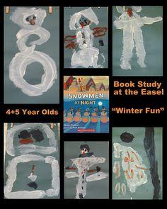 Snowmen at Night Easel Paintings via RainbowsWithinReach Winter RoundUP Preschool Books, Preschool Christmas, Christmas Crafts, Preschool Winter, Preschool Literacy, Preschool Education, Preschool Ideas, Winter Fun, Winter Theme