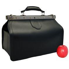BARON OF MALTZAHN Doctors bag VON BINGEN, black leather, Made in Germany
