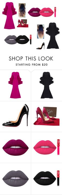 """""""Christian Siriano + Christian Louboutin + Lime Crime Velvetines, Cashmere"""" by treacey-pooh on Polyvore featuring Christian V Siriano, Christian Louboutin and Lime Crime"""
