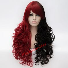 Hallowen Mix Black and Red Hair Batman Long Curly Harley Quinn Cosplay Wig  #Aicos #FullWig #HalloweenCosplayperformance