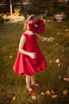 Girls Red Dress Red Toddler Dress Flower by FlowerGirlsCouture, $62.50