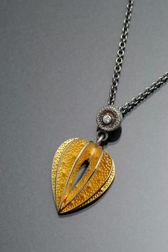 Lantern Plant Necklace Gold: Sooyoung Kim: Gold, Silver, & Stone Necklace - Artful Home