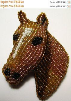 Vintage beaded horse pin/brooch. #Valentine sale!