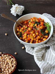So today we're making spiced chickpea stew that is even better served over fluffy basmati rice! Vegan Stew, Chickpea Stew, Chana Masala, Lunch Box, Veggies, Vegetarian, Dinner, Ethnic Recipes, Food