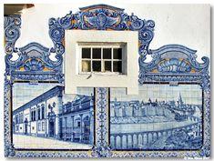 "Railway station building with ""azulejos"" tiles in Aveiro, Portugal - Stock Image Portuguese Culture, Portuguese Tiles, Brazilian Portuguese, Cultural Architecture, Interior Architecture, Tile Art, Mosaic Tiles, Tile Panels, Antique Tiles"