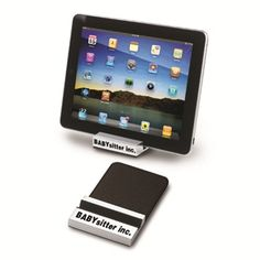 Ipad stand with zinc alloy metal and black recycled leather accent