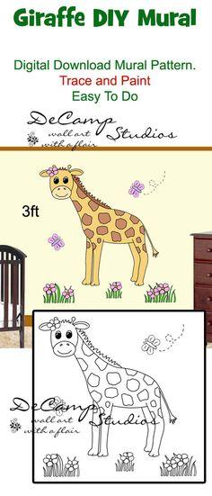 DIY Jungle Giraffe Wall Art Mural Pattern Printable Digital Download for baby girl nursery or kids room decor #decampstudios