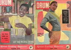 Covers of Drum magazine from the The popular magazine depicted urban black culture and reported on issues associated with life during apartheid. Drum Magazine, Black Magazine, Life Magazine, African Life, South African Art, African History, Life In The 1950s, Popular Magazine, Black African American