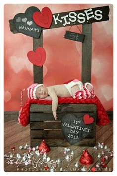 Valentine's Photography Prop Set. Newborn baby girl Valentine's prop bundle.  Crochet headband, leg warmers, beanie, and diaper cover.. $60.00, via Etsy.