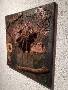 Decoupage+Mischtechnik+Kunst+Bild+Scrapbooking+Unikat+Steampunk+Vintage+Hand
