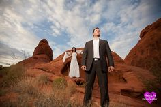 bride and groom photographed in the Valley of Fire, just outside of Vegas