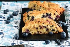 Easy to make, light and fluffy blueberry chocolate chip scones sprinkled with coarse sugar - the perfect breakfast treat!