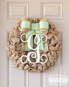 St. Patrick's Day Wreath, Spring Outdoor Wreath, Monogram Wreath, Burlap Wreath, - Interchangeable Bow™