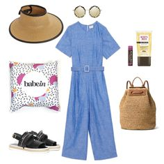 Hat: Saks Eric Javits Straw Starfish Visor; Babywearing Wrap Babein Rice Pudding; Sandals: Obus Clothing Sahila Platform; Sunglasses: Le Specs Hey Yeh; Pantsuit: GormanVada Pantsuit; Tinted Lip Balm: Burts Bees Sweet Violet; BB Cream: Burts Bees; Backpack: Michael Kors Krissy http://shop.babein.com.au/product/rice-pudding-wrap