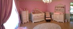 Victorian style furniture with pink damask walls and pink accents. Perfect pink nursery for a little girl!
