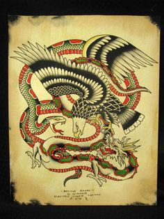 Original traditional Tattoo painting Battle Royal by ElectricTiger, $60.00