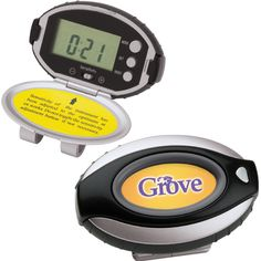 Don't Miss a Step Pedometer - Flip-open pedometer with timer, clock, distance, sensitivity setting and belt clip.