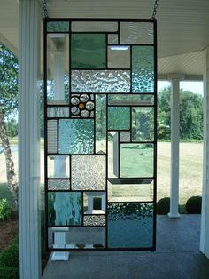 Stained Glass Panel Window Transom Seafoam Green & Clear Bevels Stained Glass Panel Window Transom Seafoam Green by TheGlassShire