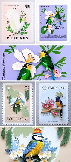 Click for more pics! | Paper Bird Sculptures Juxtaposed With International Stamps by Diana Beltran #paper #art