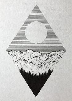Little mountain drawing. Cool Art Drawings, Pencil Art Drawings, Art Drawings Sketches, Art Sketches, Drawing Ideas, Tumblr Drawings, Ink Illustrations, Simple Doodles Drawings, Black Pen Sketches