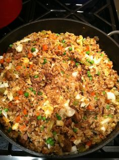 fried rice - Delicious with either shredded cabbage or broccoli slaw. I skip the bacon but sometimes add diced chicken cooked in teriyaki sauce. Slivered almonds are also a good addition.