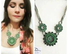 Woodland Cotton yarn crochet necklace stones by GiadaCortellini