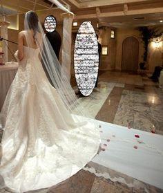 Oleg Cassini Cwg394 + Cathedral Veil Tiara Gloves Slip Wedding Dress