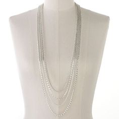 Apt. 9 Silver Tone Long Multistrand Necklace