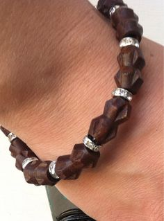 Wood Bracelet with Crystal Beads by Daronswoodenprint on Etsy, $20.00