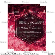 Sparkling Ruby Red Gemstone Wedding Invitation Amaze your guests with this elegant gemstone wedding invitation featuring modern transparent hexagon frame overlay against a beautiful precious stones background. Simply add your event details on this easy-to-use template to make it a one-of-a-kind invitation.