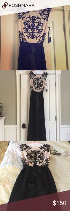 Macy's evening gown This is a beautiful blush and black long evening gown  brand new , with tags still on!! I bought this for a wedding and then changed my mind. It is a size 10, and is the tag show originally sold for $229 at Macy's. I'm not sure if you can see in the pictures but the top is lace and the bottom is tiered from waist until  about the knee. This is a gorgeous dress and looks beautiful on... I just ended up going with a tea length dress for the event this dress was purchased…