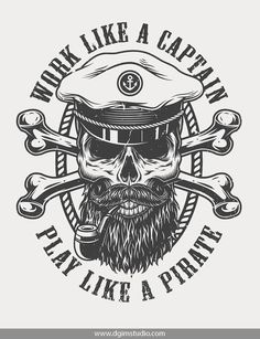 Old school style sea label with bearded and mustached sea captain skull smoking pipe and crossbones. S Tattoo, Sleeve Tattoos, Art Tattoos, Tattoo Barco, Pirate Skull Tattoos, Sailor Tattoos, Tatuagem Old School, Tattoo Flash Art, Oldschool