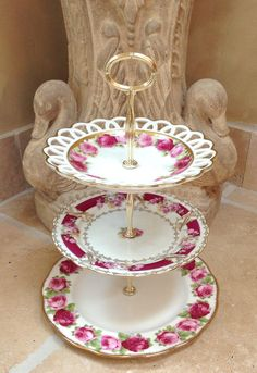 3 Tier Cake Stand, Vintage China Roses for cupcakes, sweets, jewelry, hors d'oeuvres. Wedding, Bridal, Baby Shower, Table Centerpiece, gift