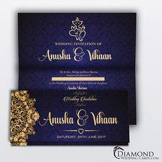 Beautiful Hindu wedding invitation. Navy background with beige/cream text and design.