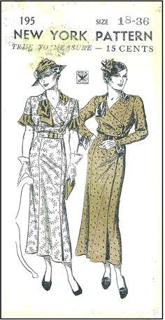 1930s Dresses Sewing Pattern - New York Pattern #195