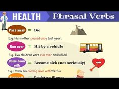 List of useful health phrasal verbs in English with their meaning and examples. Learn these common phrasal verbs for health, fitness, sickness and death with ESL picture to increase your English vocabulary. English Verbs, English Writing, English Vocabulary, English Grammar, Vocabulary List, Learning English, Break Out Meaning, Phrasal Verbs With Meaning, Chinese Pronunciation