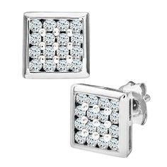 Mogul Jewellery - Orecchino da uomo con diamante (0,2 ct), oro bianco 9k (375), cod. PE2924: Amazon.it: Gioielli