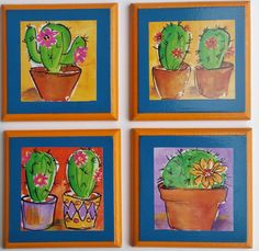 Brighten up your dining/living are with these Mexican themed coasters. A decorative and functional set of handmade coasters featuring brightly coloured cactus'. MDF base vibrant background, terracotta edges, finished with a high gloss varnish. 10cm square. Set of 4.
