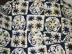 Black Yellow Batik Print Cotton Fabric, Indian Cotton Fabric, sewing material, batik fabric by the yard