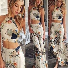 🎉HOST PIC🎉 FLORAL CROP TOP & MAXI SKIRT BOHO SET Brand new. Perfect condition. Never worn. No tags. This is a beautiful matching two piece set with a tropical floral pattern,  perfect for a day out on the beach. Size small and medium available. The top Is a halter tie so it is adjustable to accommodate your bust size. Measurements are as follows. Small- Waist: 24-25 inches. Skirt length: 42.5 inches. Top length: 11 inches. Medium- Waist: 26-27 inches. Skirt length: 43 inches. Top length…