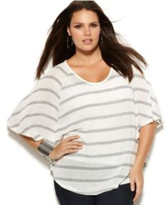 INC International Concepts Plus Size Top, Batwing Sleeve Striped Metallic - Womens Tops - Macy's