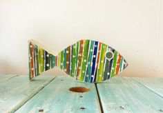 Striped Recycled Wooden Fish