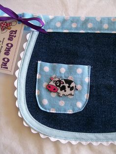Toddler Denim Half Apron with Blue Polka Dots and Cow Size Polka Dot Tie, Blue Polka Dots, Denim Purse, Cute Cows, Half Apron, Kids Apron, Old Jeans, Recycled Denim, Iron On Applique