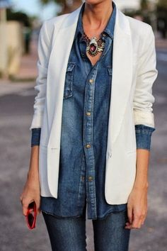 Street style white blazer over denim with statement necklace